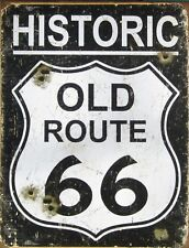"TIN SIGN ""Historic Route 66"" Highway Deco  Garage Wall Decor"