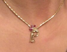 Flower Unique 14K Yellow Gold Necklace, Genuine Ruby & Natural Diamonds