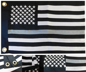 """USA Thin Grey Gray Line 12x18 12""""x18"""" 600D Nylon Embroidered Flag Grommets"""