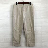 Chicos SZ 1 US 8 Khaki Beige Flat Front Cropped Length Trouser Pants *FLAW
