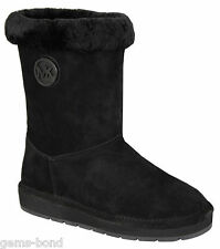 New Michael Kors Women Black Suede Fur Winter Mid Ankle Boots Bootie Shoes Snow