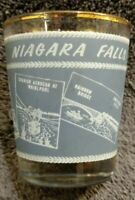 "MINT Vintage Shot Glass Niagara Falls ATTRACTIONS Canada 2 1/2"" GRAY WHITE GOLD"