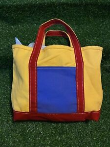 *Rare* Vintage L.L. Bean Color Blocked Yellow Tote Boat And Tote Made In USA