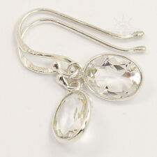 NEW 925 Sterling Silver Girl's Pretty Earrings Natural CRYSTAL QUARTZ Gemstones
