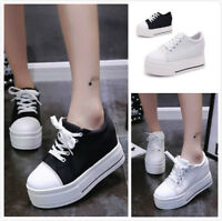 Women's Wedge Hidden High Heel Creepers Canvas Lace up Shoes Platform Sneakers