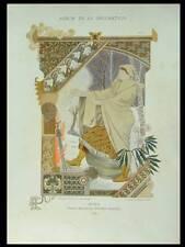 EUGENE GRASSET, HIVER - 1898 - LITHOGRAPHIE, ART NOUVEAU