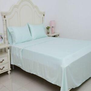 TJC King Size Set of 4 Mint Colour Matt Satin Flat Sheet/Fitted Sheet & 2 Pillow