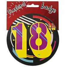18th Birthday Jumbo Flashing Party Badge Age 18 Big Badges Birthdays