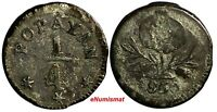 COLOMBIA POPAYAN Silver 1850 1/4 Real VF Toned KM# 108.2