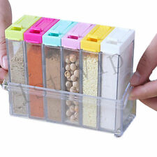 6pcs Spice Jar Transparent Seasoning Box Kitchen Spices Tool With Colorful Lid