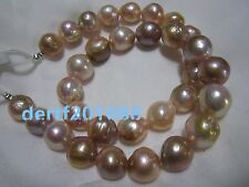 13mm  natural japanese kasumi pink pearl necklace 18inch 14K Solid gold