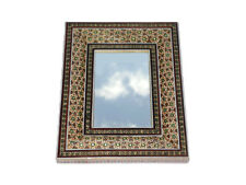 Stand  Mirror with Decorative  inlaid Wood -and Brass Frame