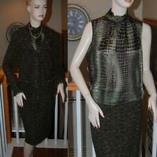 WOW STUNNING ST. JOHN KNIT BLACK/GREEN 3 PC NOVELTY KNIT SKIRT SUIT SZ 8