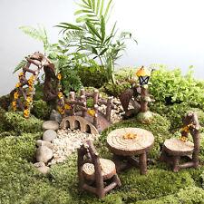 DIY Dollhouse Kit Miniature Fairy Garden Ornament Decor Pot Plant Table Bridge