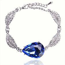 14K White GoldFilled Sapphire Austrian Crystal Drop-Shape Bracelet & Bangle