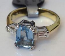 Emerald Aquamarine Three-Stone Fine Rings