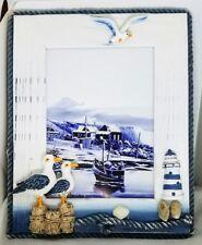 Nautical 5x7 Photo Frame Seaside Living Lighthouse Gulls Blue and White Wood