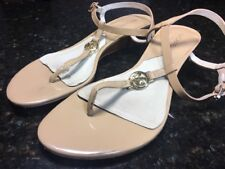 330bf2c0bb73 MICHAEL KORS Nude Patent Leather Logo Wedge Thong Sandals Size 7.5 M