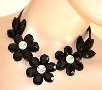 COLLANA COLLARINO donna NERA  girocollo CRISTALLI collier ragazza colletto E110