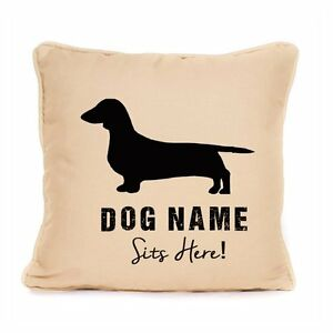 Personalised Dachshund Sits Here Print Cushion Cover Gift For Dog Lover 18x18