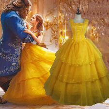 Adult Belle Cosplay Beauty and the Beast Dress Cos Ball Gown Disney Costume