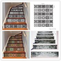 6Pcs 3D Mosaic Stair Riser Decals Wall Tile Stickers Self Adhesive Wallpaper Art