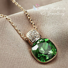 18K Rose Gold Plated Made With Swarovski Crystal Cushion Cut Emerald Necklace