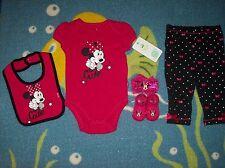 Minnie Mouse Outfit 5pc Set Sz 3-6 Mos Bodysuit Pants Bib Socks Headband NWT