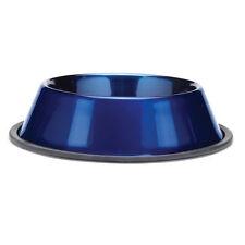 METALLIC STAINLESS STEEL BOWL - Dog Cat Food Water Dish Feeder Non-Skid Base