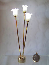 Dollhouse Miniature Battery Operated Brass Floor Lamp with 3 Tulip Shades