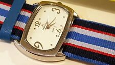Louis Arden Quartz watch Striped Blue band white Dial Girls Woman
