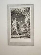 BELLE Gravure SCENE MYTHOLOGIQUE APOLLON ARC SERPENT PYTHON DIEUX GRECS 1810