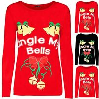 Womens Christmas Jingle My Bells Tie Ribbon Ladies Stretchy Long Sleeve T Shirt