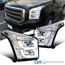 For GMC 15-18 Yukon/ Yukon XL Clear LED Signal Projector Headlights Parking Lamp