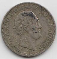 Münze 1/6 Taler 1848 Sachsen Friedrich August II. Saxonia Coin
