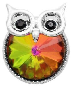 Silver Iridescent Rhinestone Owl 20mm Snap Charm Button For Ginger Snaps Jewelry