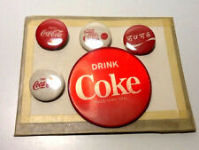 5 Vintage Coca-Cola Advertising Pinback Buttons Drink Coke - Nice Selection!