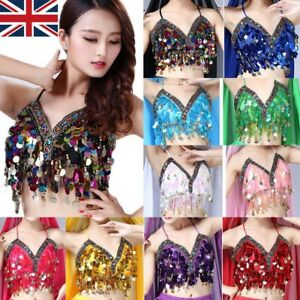 Belly Dance Bra Sequined Beaded Top Sexy Dancing Costume Festival Fringe Costume