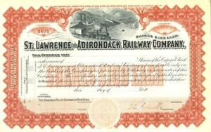 1900s St Lawrence & Adirondack Railway - Canada railroad stock certificate