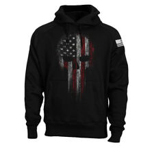 USA American Military Skull Flag Patriotic Hoodie Sweatshirt