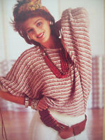 Ladies 80's style BAT WING JUMPER TOP KNITTING PATTERN 4 ply  34 - 38 inch