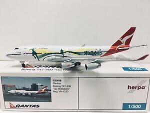 """Herpa Wings Qantas Boeing 747-400 """"Go Wallabies"""" 1:500 VH-OJO 520959"""