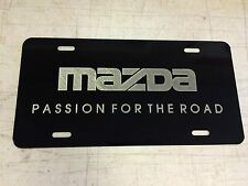 MAZDA PASSION LOGO Car Tag Diamond Etched on Black Aluminum License Plate