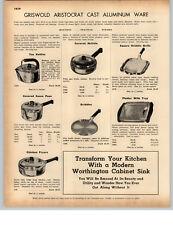 1942 PAPER AD Griswold Aristocrat Aluminum Ware Skillets Kettles Griddle
