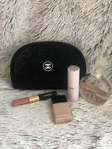 Chanel Beaute Cosmetic Make Up Bag Mesh Black Lightweight USA Seller