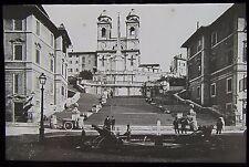 Glass Magic Lantern Slide THE SPANISH STEPS ROME C1910 EDWARDIAN PHOTO ITALY
