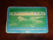 Rare Vintage GRATEFUL DEAD BACKSTAGE PASS Baltimore, MD Civic Center 4/19/1982