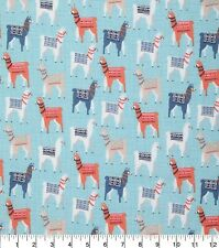 "Llamas with Blankets Cute-Fq-Fat Quarter 18""H x 21""W -100% Cotton"