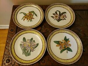 VTG 4 pc Oriental Accent Porcelain Display Plates w/Iris Flowers Made in China