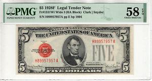 1928 F $5 LEGAL TENDER RED SEAL FR.1531Wi WIDE I HA BLOCK PMG CHOICE AU 58 EPQ